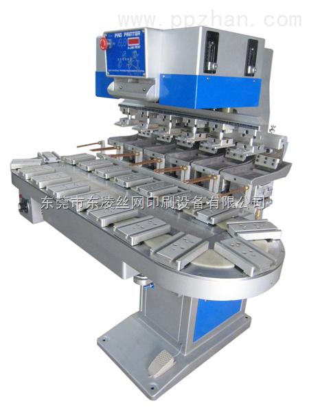 六色轉盤機,六色轉盤移印機,雙缸六色轉盤機,六色雙缸抬頭移印機